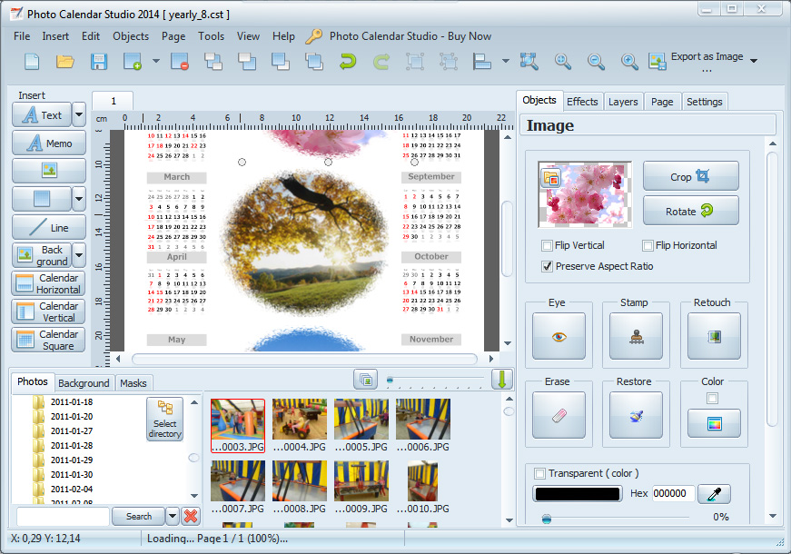 Program for photo calendars.